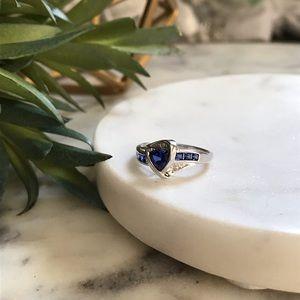 Trillion Cut Sapphire & White Gold Ring